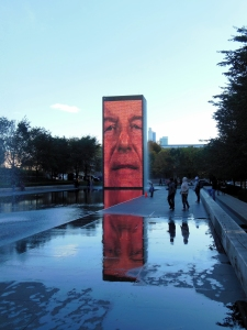 Hologram sculpture in Millennium Park